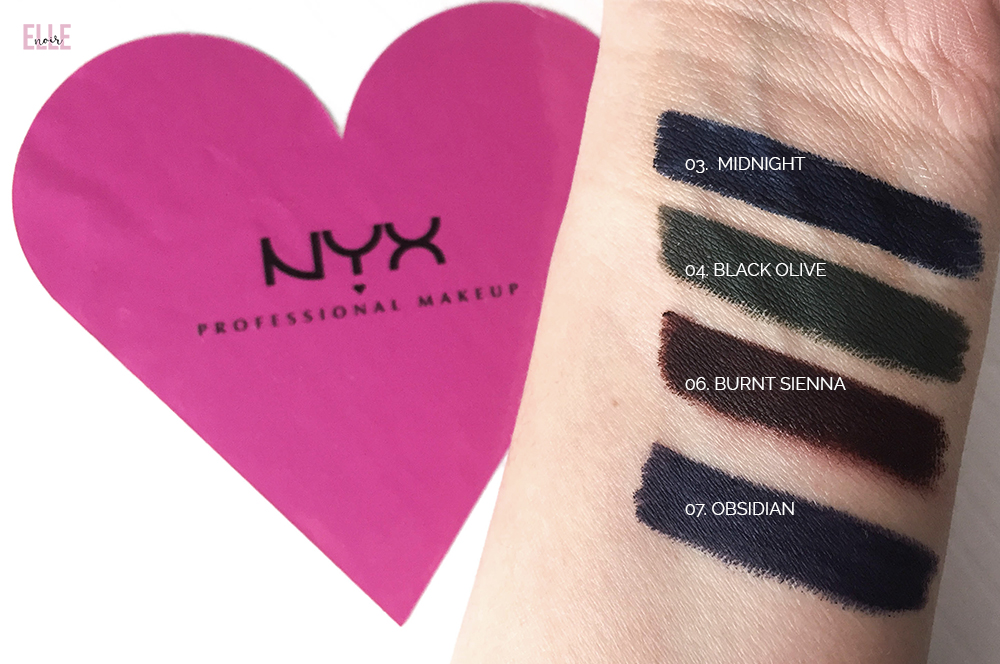 Matite occhi eye-liner NYX cosmetics FAUX BLACKS swatches
