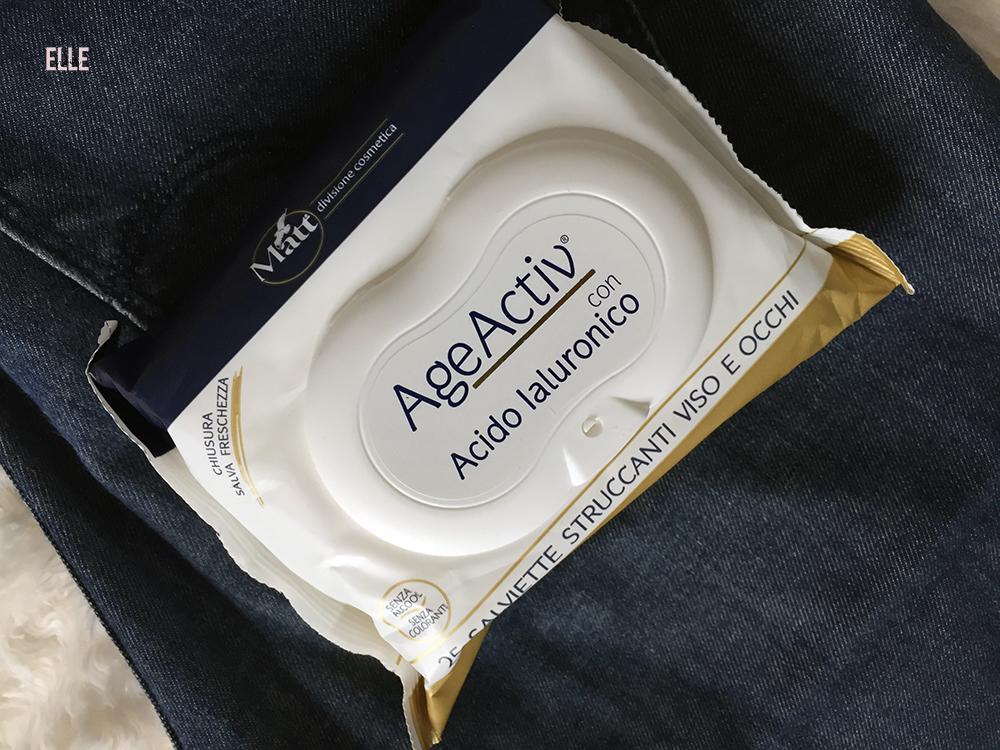Matt divisione cosmetica : salviette AgeActiv con acido ialuronico.