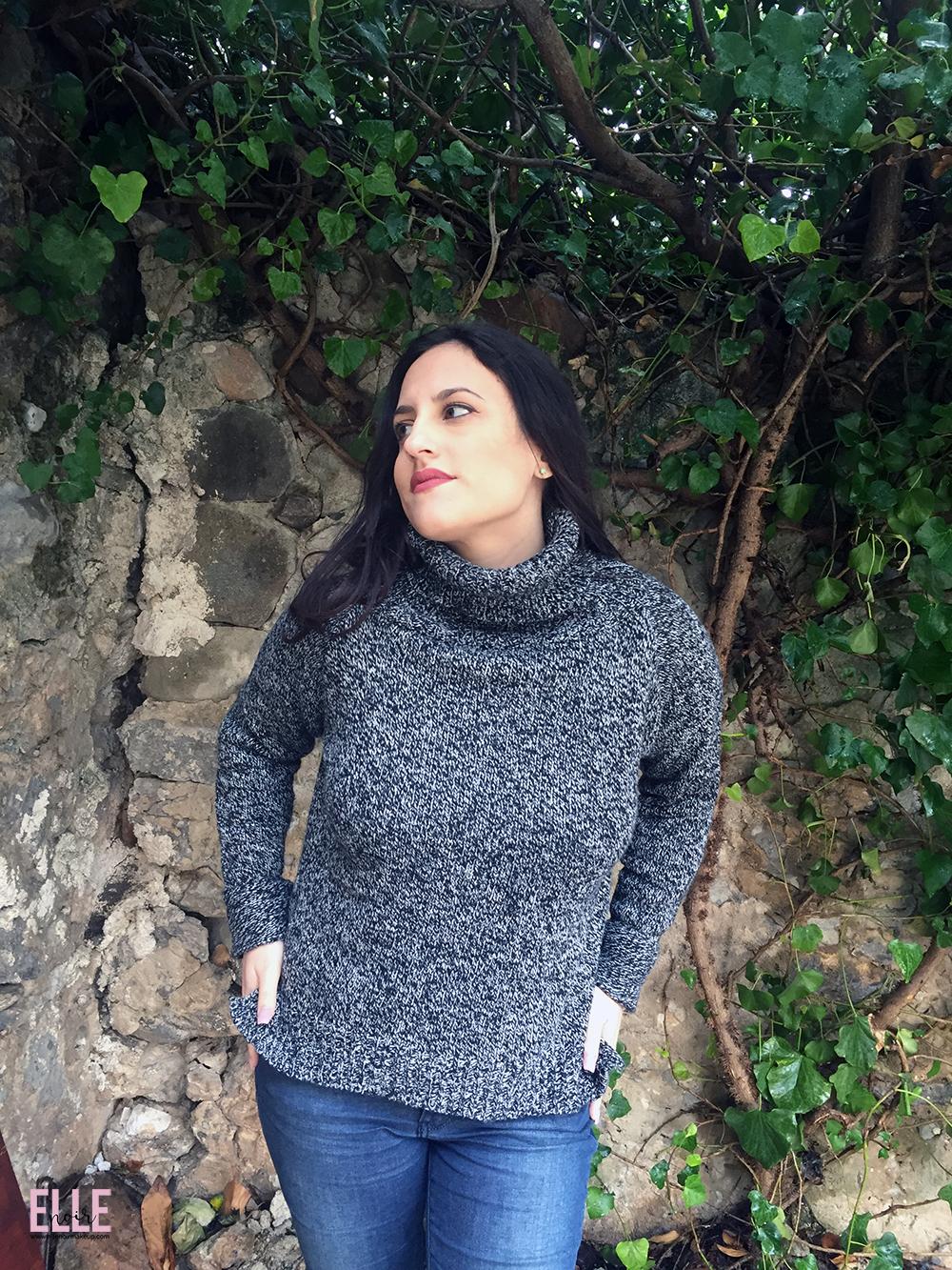 Maglione morbido, a collo alto , bianco e nero , sale e pepe - Romwe