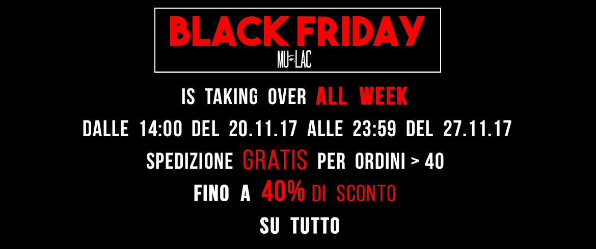 Black Friday Mulac, sconti fino al 40%